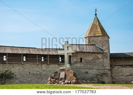 ancient fortress tower and wall in the fortress of the ancient Russian city of Pskov