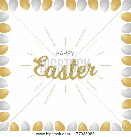 Vector Happy Easter gold typographic calligraphic lettering with gold rays isolated on white background with gold and silver realistic eggs. Retro holiday easter badge. Religious holiday sign.
