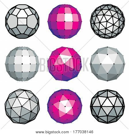 Set Of Vector Dimensional Low Poly Objects, Spherical Facet Shapes. Technology 3D Elements Collectio