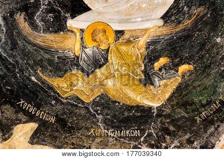 Angel holds the scroll of heaven an old byzantine wall-painting in Chora church Istanbul Oct 11 2013