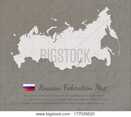 Vintage Russian Federation map. Paper card map silhouette. Vector illustration