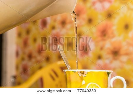 Closeup of making a cup of tea with pouring water