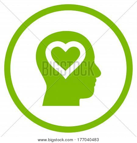 Love In Head rounded icon. Vector illustration style is flat iconic symbol inside circle, eco green color, white background.