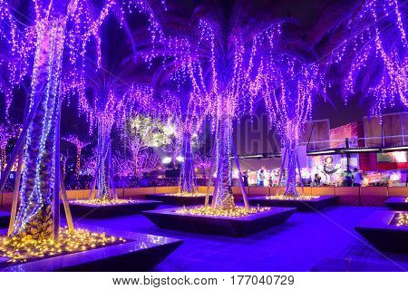 Purple Lights At Festival In Taichung, Taiwan