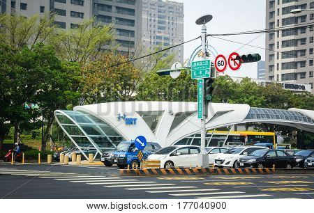 Brt Station At Downtown In Taichung, Taiwan