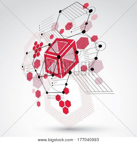 Modular Bauhaus 3d vector background created from geometric figures like hexagons circles and lines. For use as advertising poster or banner design. Abstract mechanical scheme made in red color.