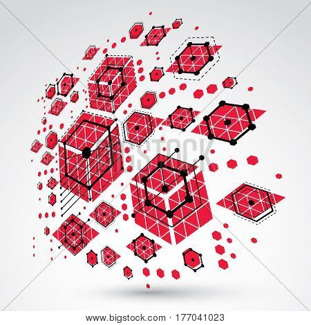 3d vector abstract background created in Bauhaus retro style. Modern geometric composition can be used as templates and layouts. Engineering technological red backdrop made with honeycombs.