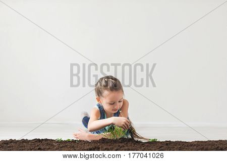 Girl lying on the floor and sits down the plant into the soil.
