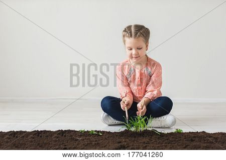 The girl fumbles with the land and plants a plant.