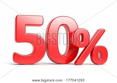 Discount 50 percent price cut off text sign isolated on white background. Shop sale business commercial and advertisement concept. 3D illustration