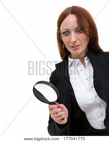 hocked woman searching finding clues with magnifying glass, isolated on white background