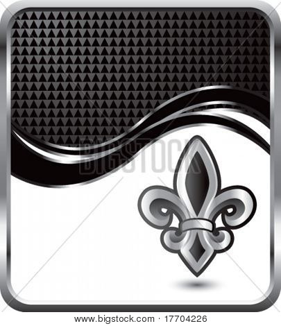 fleur de lis on black checkered wave background