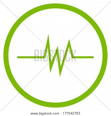 Pulse Signal rounded icon. Vector illustration style is flat iconic symbol inside circle, eco green color, white background.