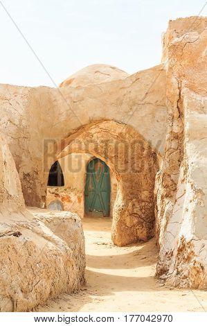 Planet Tatooine decoration in Sahara desert, Tunisia