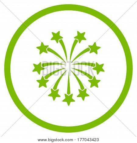Spherical Fireworks rounded icon. Vector illustration style is flat iconic symbol inside circle, eco green color, white background.