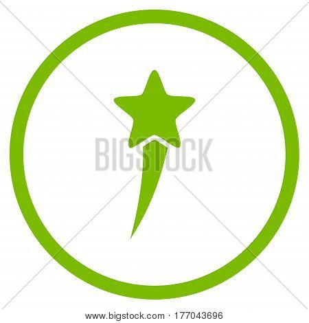 Starting Star rounded icon. Vector illustration style is flat iconic symbol inside circle, eco green color, white background.