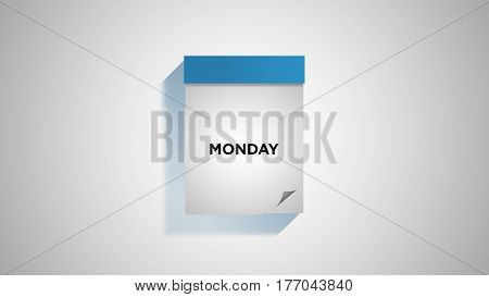 Blue weekly calendar on a white wall, showing Monday. Digital illustration.