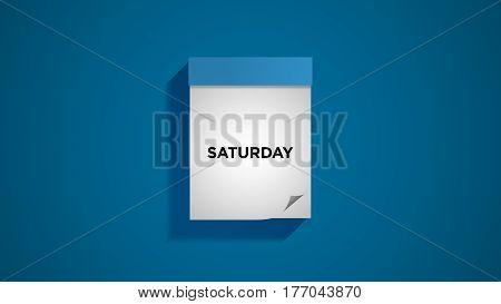 Blue weekly calendar on a blue wall, showing Saturday. Digital illustration.