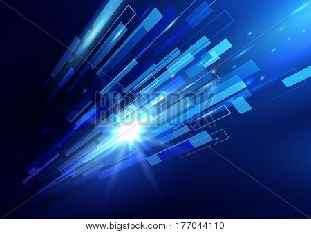 Abstract blue rectangles motion technology digital hi tech concept background