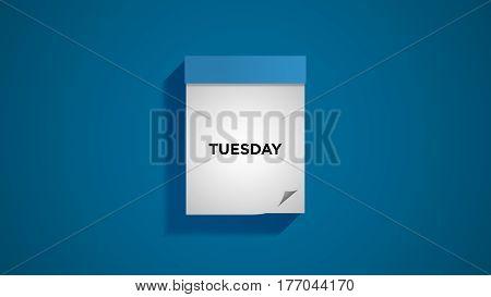 Blue weekly calendar on a blue wall, showing Tuesday. Digital illustration.