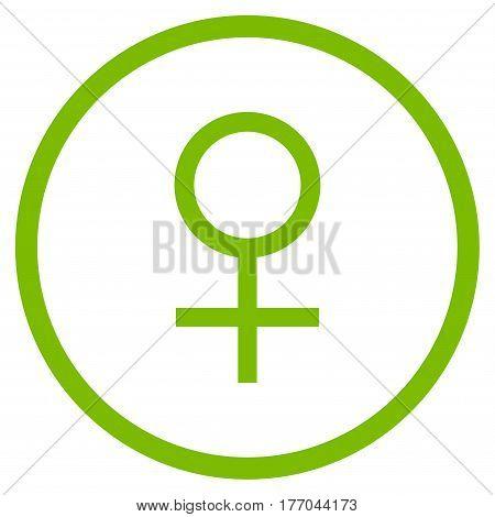 Venus Female Symbol rounded icon. Vector illustration style is flat iconic symbol inside circle, eco green color, white background.