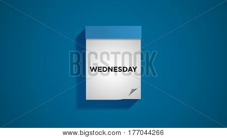 Blue weekly calendar on a blue wall, showing Wednesday. Digital illustration.