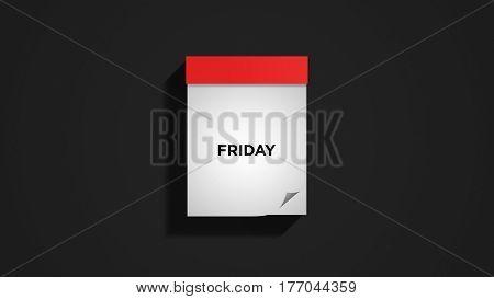 Red weekly calendar on a dark gray wall, showing Friday. Digital illustration.