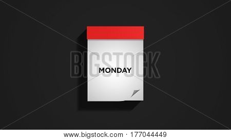 Red weekly calendar on a dark gray wall, showing Monday. Digital illustration.