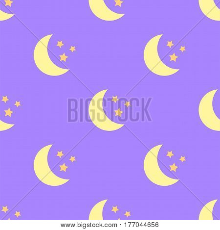 Seamless flat pattern with yellow moon and stars on violet background