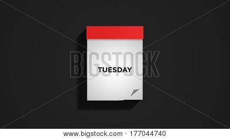 Red weekly calendar on a dark gray wall, showing Tuesday. Digital illustration.