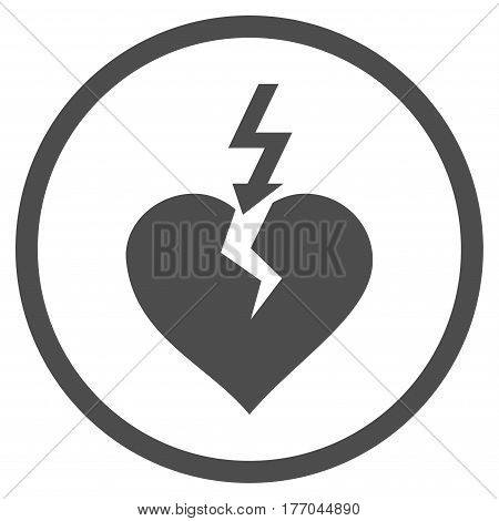 Break Heart rounded icon. Vector illustration style is flat iconic symbol inside circle, gray color, white background.