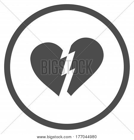 Broken Heart rounded icon. Vector illustration style is flat iconic symbol inside circle, gray color, white background.