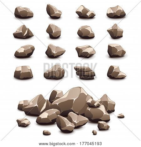 Cartoon stones icons detailed photo realistic vector set