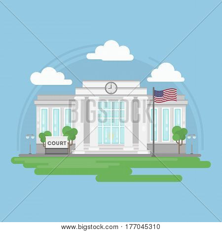 Isolated court building. Isolated urban building with sign and flag. City landscape with clouds and trees.