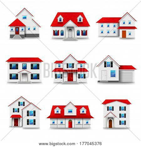 Houses icons icons detailed photo realistic vector set