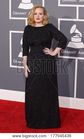 LOS ANGELES - FEB 12:  Adele arrives for the
