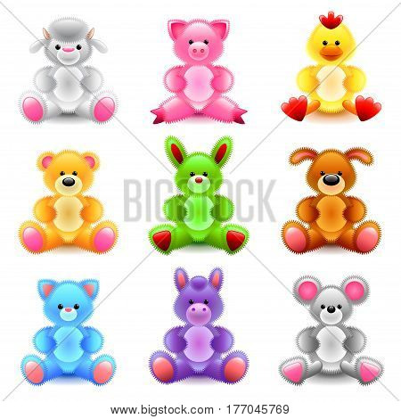 Soft toys icons detailed photo realistic vector set