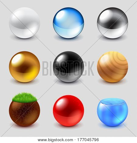 Spheres from different materials icons photo realistic vector set