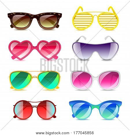 Sunglasses icons detailed photo realistic vector set