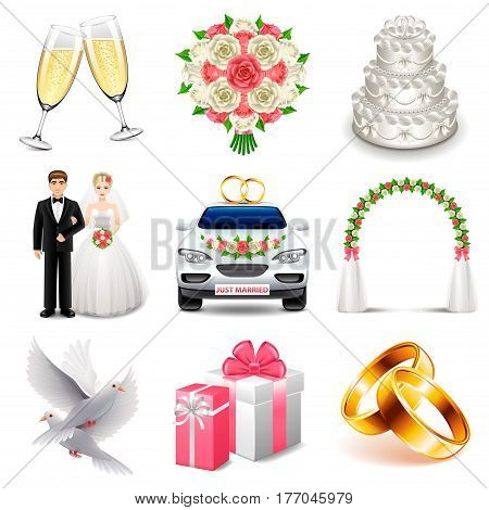 Wedding icons icons detailed photo realistic vector set