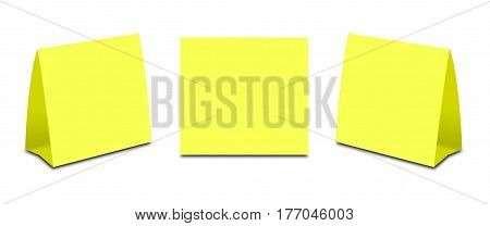 Blank Yellow Table Tent On White. Paper Vertical Cards Isolated On White Background. Front, Left And