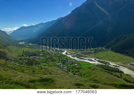 The village in the Caucasus among the mountains. Vierkhny Baksan.