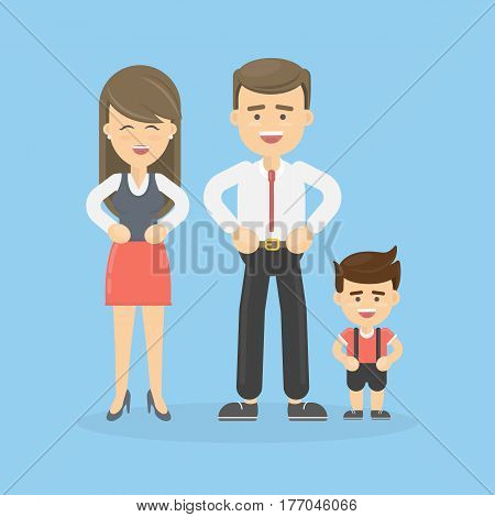 Isolated happy family on blue background. Father and mother and son.