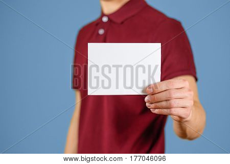 Man Showing Blank White Flyer Brochure Booklet. Leaflet Presentation. Pamphlet Hold Hands. Man Show