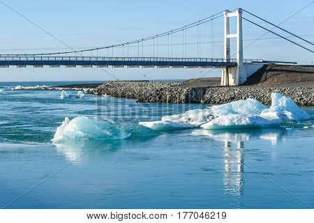 Scenic view of icebergs in Jokulsarlon glacier lagoon Iceland selective focus global warming concept
