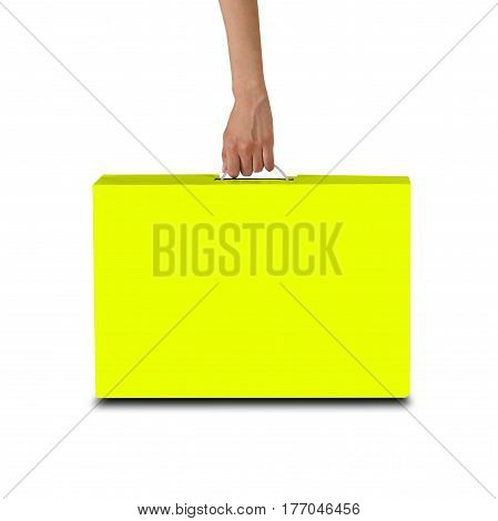 Hand Holds A Yellow Box With A Handle. Packing Box For Laptop. Isolated On White Background