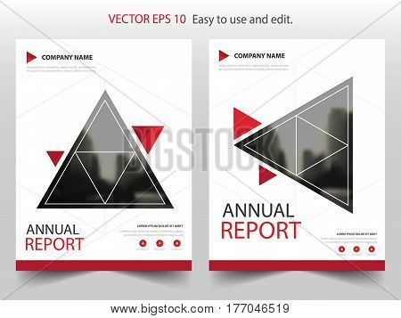 Red triangle Vector Brochure annual report Leaflet Flyer template design book cover layout design abstract business presentation template a4 size design