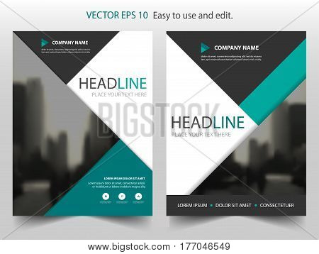 Green triangle Vector Brochure annual report Leaflet Flyer template design book cover layout design abstract business presentation template a4 size design