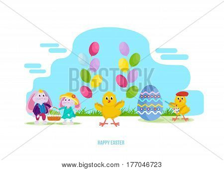 Happy easter greeting card. Lovely hares keep a basket with an Easter egg, a chick with balloons, a nestling paints an egg with a brush and paints. Vector illustration.