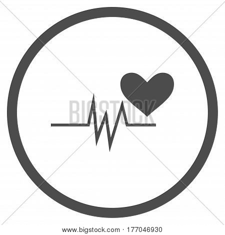 Heart Pulse Signal rounded icon. Vector illustration style is flat iconic symbol inside circle, gray color, white background.